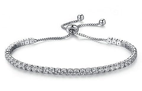 AMDXD Bijoux Plaqué Or Bracelets de Liaison pour Femme Zircon Cubique Ronde Blanc 16CM
