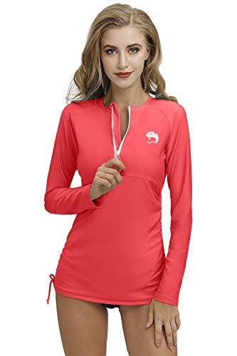 BesserBay Damen Bademode Rash Guard UV Shirts Langarm 1/4 Zip Surf Shirt Schwimmen Badeshirt UPF 50+ Wassermelone Rot