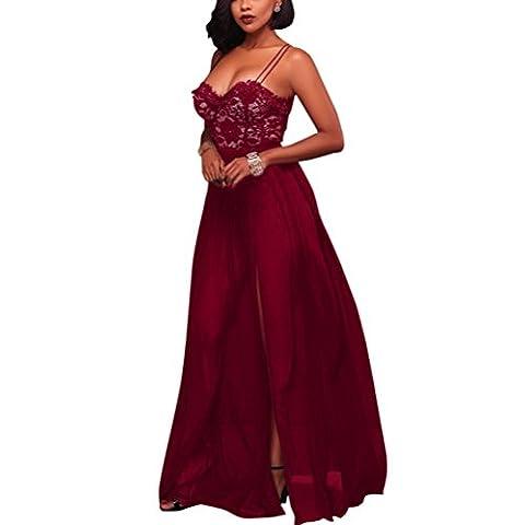 Femmes Coupe-bas Licou Mousseline de Soie Robe Divisée Classique Couleur unie Dentelle Soirée Robes Longues , wine red , l