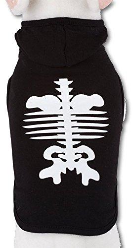 Im Skelett Dunkeln Leuchtet Kostüme (Hunde T-Shirt Skeleton XS Rückenlänge 22cm mit Skelett das im Dunkeln)