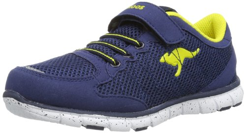 Kangaroos Liberty Kids, Baskets mode garçon Bleu - Blau (dk navy/acid yellow 477)