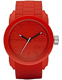 Diesel Unisex Quarzuhr mit Rot Zifferblatt Analog-Anzeige und rotem Silikon Armband DZ1440