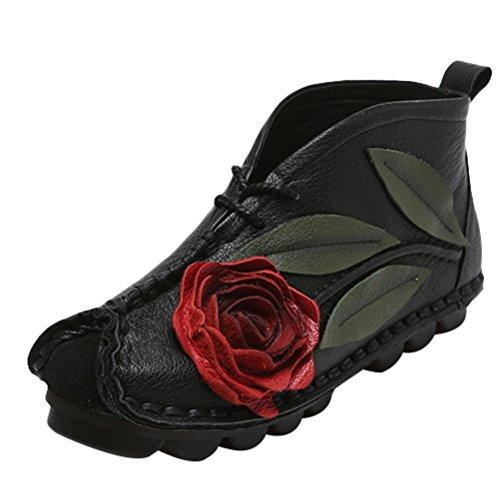 Vogstyle Femme Chaussures Rétro à Semelles Souples Handmade Noir