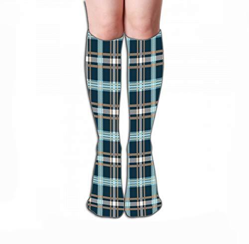 Xunulyn Hohe Socken Men Women Outdoor Sports High Socks Stocking Classic Tartan Merry Christmas Check Plaids Classic Tartan Merry Christmas Check Plaids Hand Geometric Tile Length 19.7