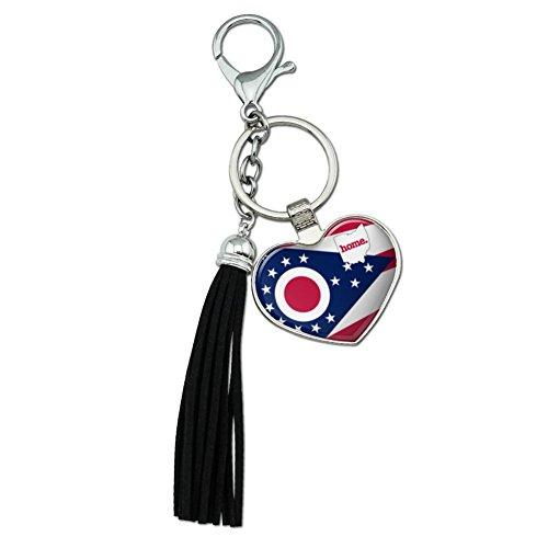 Ohio OH Home State Flagge Offizielles Lizenzprodukt verchromtem Metall Herz Leder Quaste Schlüsselanhänger (Ohio Leder)