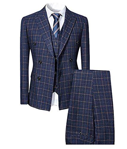 Herren taillierter Anzug 3-Teilig Slim Fit für Hochzeit und Party Dunkelblau Medium