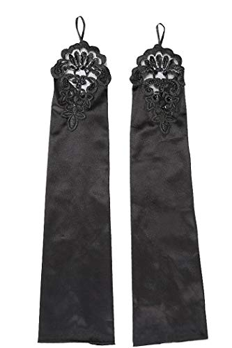 FORLADY Lange Fingerlose Abendhandschuhe Satin Elbow Handschuhe Braut Kostüm Handschuhe Spitze Schmuck - Kostüm Schmuck Braut