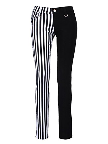 Banned Unisex Skinny Jeans Halb schwarz Halb gestreift (Schwarz Skinny Jeans Gestreifte)