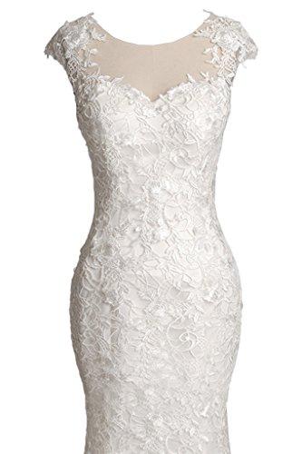 Milano Bride Brillante Mermaid Rundkragen Hochzeitskleider Brautkleider Brautmode Spitze Applikation Figurbetot Schleppe Elfenbein