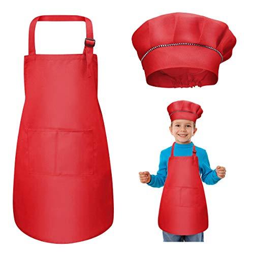 WEONE Niños Delantal y Gorro de Cocinero