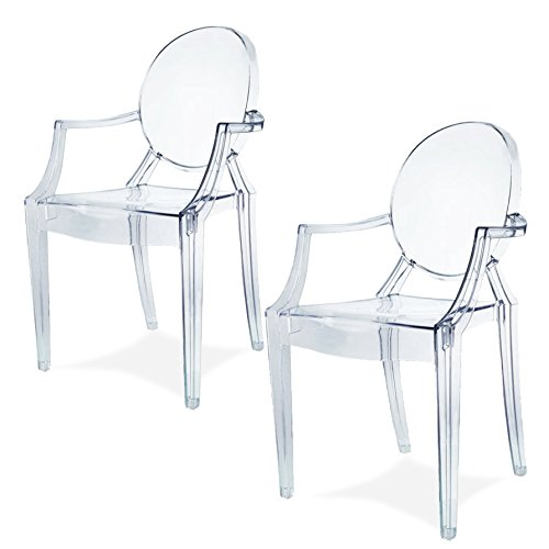 Damiware Lot de 2 Plexiglas Acrylique Ghost Chair Accoudoir Chaise Spirit Transparant. Illustration en Transparent (Transparant)