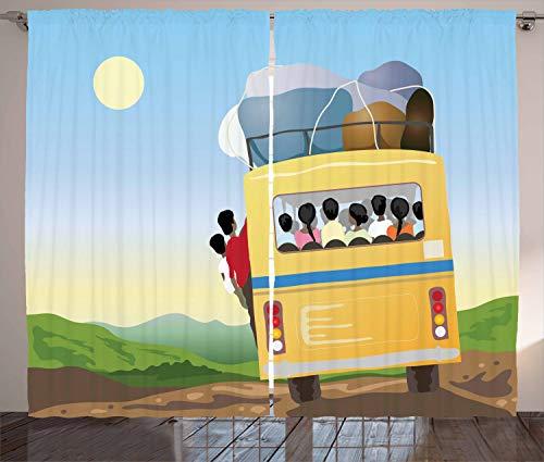 ABAKUHAUS Karikatur Rustikaler Gardine, Überfüllten gelben Bus, Schlafzimmer Kräuselband Vorhang mit Schlaufen und Haken, 280 x 260 cm, Mehrfarbig -