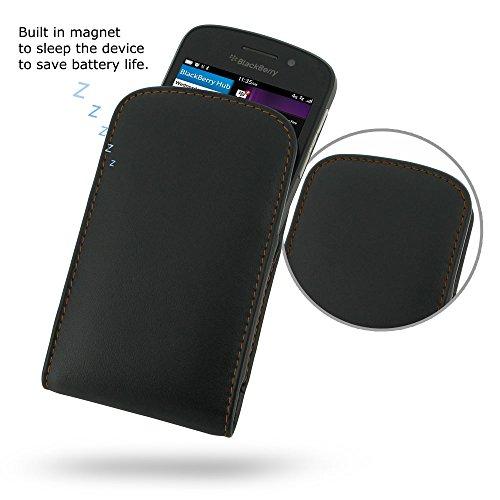 PDAir BlackBerry Q10 Leder Tasche Hülle (Orange Stich), Tasche Leder Handyhülle Tasche Hülle Leder Tasche, Luxus Prämie Vertical Tasche Für BlackBerry Q10 (NO Gürtelclip) (Blackberry Otterbox Q10)