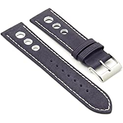 DASSARI Carrera Blue Distressed Leather GT Rally Racing Watch Strap size 18mm 18/16