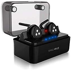 Auricolari Bluetooth Stereo In Ear Senza Fili, Auricolare Bluetooth Mini con Custodia e Base di Ricarica Intelligente Syllable D900 Mini Compatibli con Smartphone e Tablet Android, Iphone e Ipad