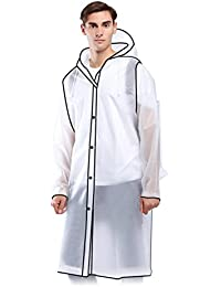 05103c973aca Transparent Raincoat- Clear Edgy PVC Long Lightweight Raincoats for Mens  Women Adult- Waterproof Plastic