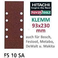 Hitachi753031Lot de 10 bandes de papier de verre abrasif pour ponceuse orbitale 93x 230mm Grain 40 avec clip-