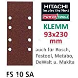 Hitachi753038Raumfahrt-Schleifblätter 93x 230mm Körnung 240Schleifpapier Clip (10Stück)