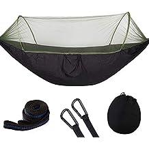 Hamaca para Acampar, Hamaca para Acampar Grande con mosquitera, hamacas paracaídas Dobles portátiles Negro