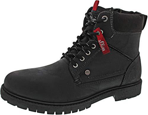 s.Oliver Herren Stiefel 15218-21,Männer Boots,Lederstiefel,Schnürstiefel,seitl. Reißverschluss,Black,EU 40