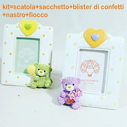 Sindy bomboniere cornice portafoto battesimo bimbo/a raffigurante l'orsetto peluche, con kit di confezionamaneto (portafoto orsetto lilla bimba con kit)