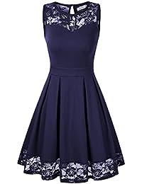 KOJOOIN Damen Elegant Kleider Spitzenkleid Langarm Cocktailkleid Knielang Rockabilly Kleid Spitze