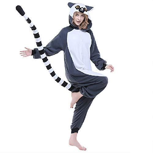 Für Erwachsene Lemuren Pyjama Kostüm - DUKUNKUN Erwachsene Pyjamas AFFE/Lemur Pyjamas Kostüm/Synthetische