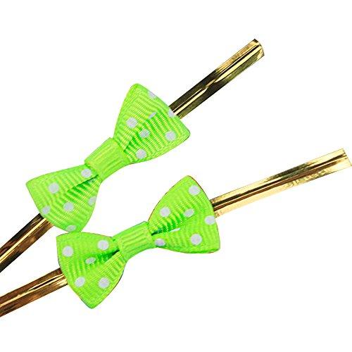 20 pezzi Riutilizzabili Bowknot Borsa d'oro Pacchetto Filo Metallico Cravatta Torsione Metallico Legami Torsione per Violoncello Sacchetti di Caramelle Verdee