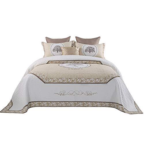 AKMEYI Bettwäsche Bettbezug, Sommer Dünnschnitt Baumwolle Weiche, atmungsaktive, Nicht reizende Stickmuster Einfache Steppdecke Schlafzimmer Queen Set,98 * 106in