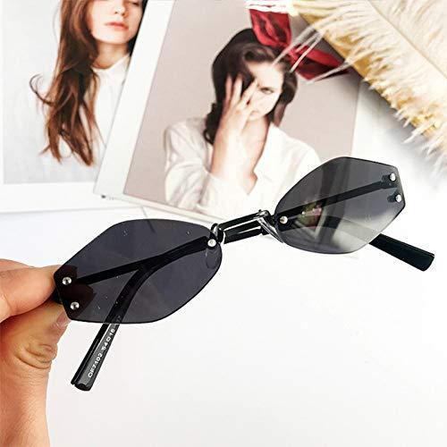 CCTYJ Sonnenbrillen Ovale Sonnenbrille Frauen Randlose Sonnenbrille Damen Unregelmäßiger Metallrahmen Brille Transparente Farbe Brillen