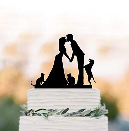 Decorating for cake for wedding with cat, figures for wedding cake with dog decoration. With girlfriend and boyfriend silhouette, fun decoration for cake for, family decoration for cake for