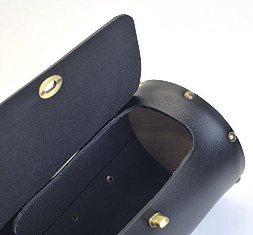Vintage Bike Zylindrische Sitz Sattel Front-Griff Bar Tasche Packungen schwarz braun - Black - Leather