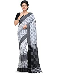 Wooden Tant Handloom Weaving Block Print Soft Cotton Saree In White And Black