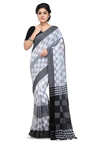 Wooden Tant handloom weaving block print Soft Cotton Saree in White and...