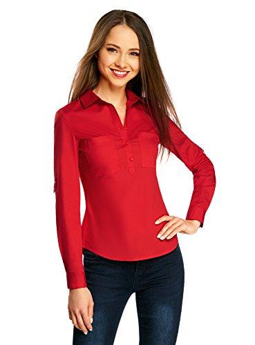 oodji Collection Mujer Jersey Básico de Viscosa, Rojo, ES 46