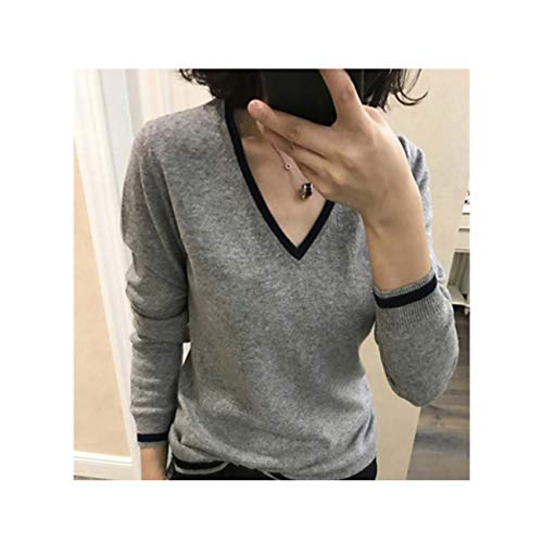 YtoaBmebqsu Cashmere Sweater Women Winter Pullover Solid Knitted Sweater Top for Women Autumn Female Oversized Sweater Gray S - Ribbed Knit Striped Sweater