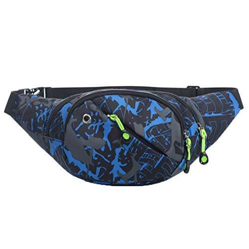 Jnday Jungs Mädchen Taillentasche mit Kopfhörer Gürteltasche Klein Bauchtasche Wasserdicht Nylon Hüfttasche Running Reisen Umhängetasche (Blau)