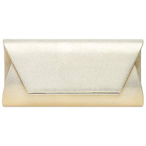 Caspar TA523 elegante XL Snake Skin Damen Envelope Clutch Abendtasche, Farbe:perlmutt, Größe:Einheitsgröße - Elfenbein-abend-handtasche