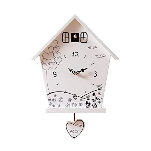HANGESN Geometrische Wanduhren - Kuckucksuhren Für Wohnzimmer, Große Wanduhren, Schlafzimmer, Wohnzimmer, Küche, Büro, Kinderzimmer(weiß)