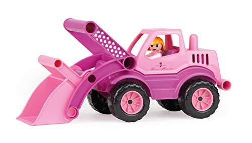 Lena 04103 - Prinzessin von Hohenzollern Schaufellader, rosa / pink, ca. 33 cm, Spielfahrzeug für Kinder ab 2 Jahre, robuster Radlader mit Stahlachsen, verriegelbarer Schaufel und Spielfigur Mädchen (Rosa Traktor Für Mädchen)