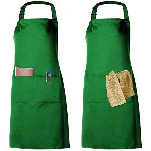 2 Pack Schürze Kochschürze Küchenschürze Latzschürze Verstellbarem Nackenband 100% Baumwolle für Frauen Männer Chef (Grün) - Baumwolle-verstellbare Schürze