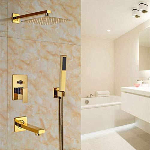 Solid Messing Gold Finish Bad 3 Wege Dusche Wasserhahn 8 Zoll Regendusche Kopf Wanne Mixer Tap Set (Dusche Kopf Wasserhahn Set)