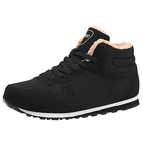 Bottes Hiver Homme, Manadlian Chaussures Trekking Randonnée Bottes de Neige Imperméable Outdoor Boots Fourrure Cuir Imperméable Sneakers 39-47