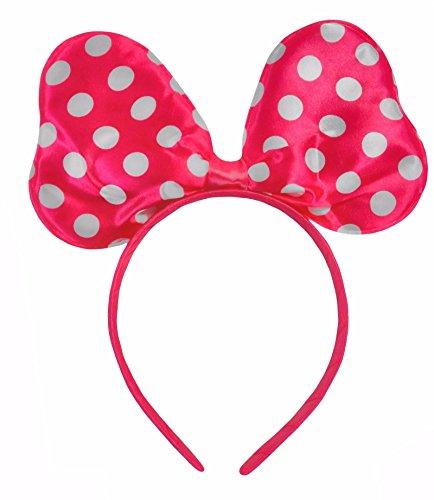 Satin Polkadot Minnie Mouse Kostüm Ohren Kostüm Rosa/Weiß Rosa Polka-dot Satin