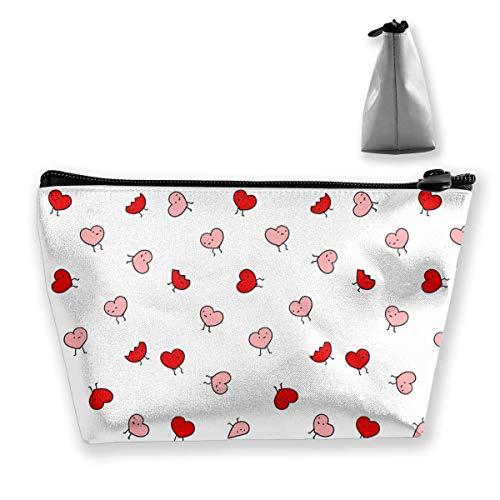 Tragbare Reise Kosmetiktasche Aufbewahrungstasche Make-up Tasche rot und rosa Herz niedlichen klassischen Reißverschluss Trapez Geldbörse