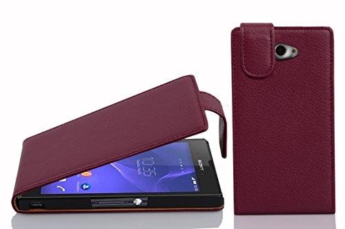 Cadorabo Hülle für Sony Xperia M2 - Hülle in BORDEAUX LILA – Handyhülle aus strukturiertem Kunstleder im Flip Design - Case Cover Schutzhülle Etui Tasche
