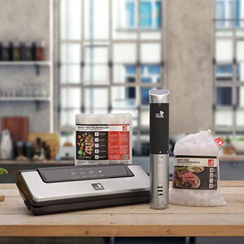 Team Cuisine Sous Vide Starterset für den perfekten Einstieg in die Welt des Vakuumgaren - Set enthält Sous Vide Stick, Isolationskugeln, 3er Folienrollen 20 x 600 cm & Vakuumierer