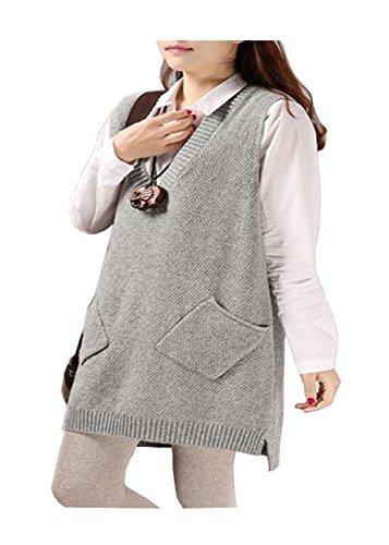 QIYUSHOW - Pull sans manche - Femme Taille Unique gris clair