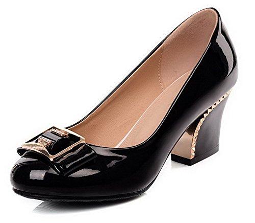 AgooLar Femme Couleur Unie Verni à Talon Correct Tire Rond Chaussures Légeres Noir