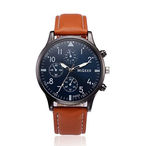 Neue Armbanduhr FGHYH Männer Retro Design Lederarmband Analoge Legierung Quarz-Armbanduhr Gürteluhr Uhr(BW)